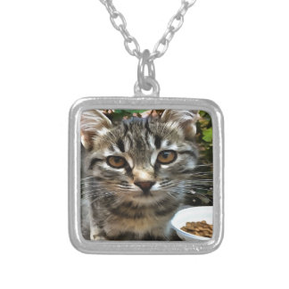 Tabby Cat Kitten Making Eye Contact Silver Plated Necklace
