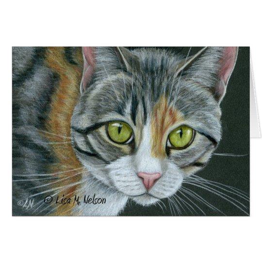 Tabby Cat on Black Card