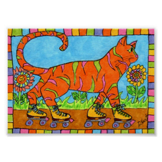 Tabby Cat on Roller Skates Mini Folk Art Poster