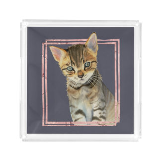 Tabby Cat Painting with Faux Rose Gold Foil Frame Acrylic Tray
