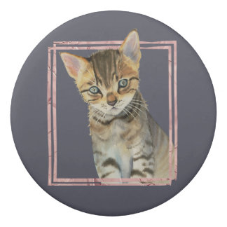 Tabby Cat Painting with Faux Rose Gold Foil Frame Eraser