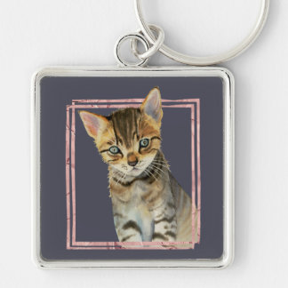 Tabby Cat Painting with Faux Rose Gold Foil Frame Keychain
