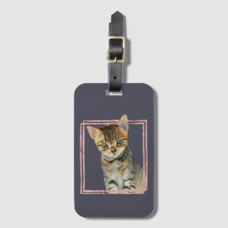 Tabby Cat Painting with Faux Rose Gold Foil Frame Luggage Tag