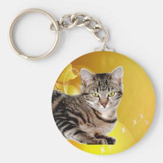 tabby cat peace joy keychain