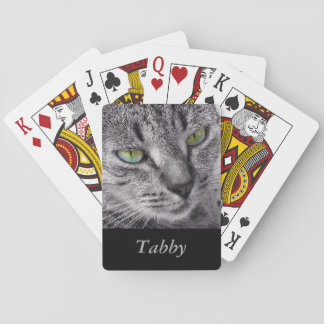 Tabby cat playing cards