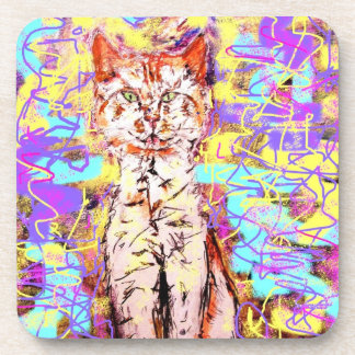 tabby cat popart beverage coaster