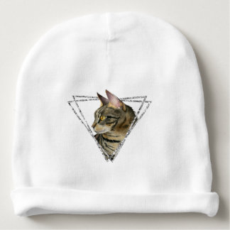 Tabby Cat Portrait with Faux Silver Glitter Frame Baby Beanie