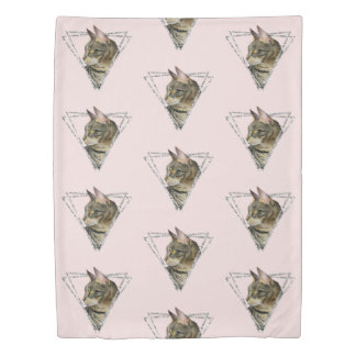Tabby Cat Portrait with Faux Silver Glitter Frame Duvet Cover