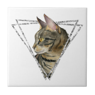 Tabby Cat Portrait with Faux Silver Glitter Frame Tile