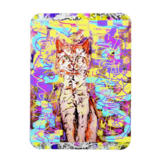 tabby cat rectangular photo magnet