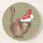 tabby cat santa coaster