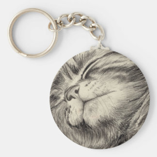 tabby cat scritching basic round button keychain