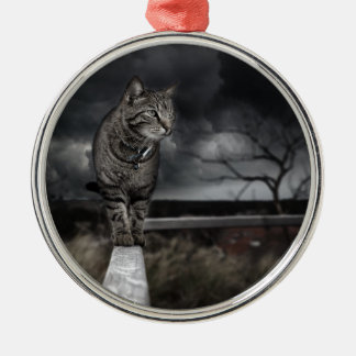 Tabby Cat Silver-Colored Round Ornament