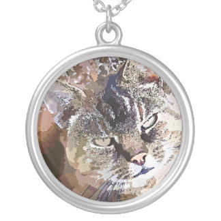 TABBY CAT SILVER PLATED NECKLACE