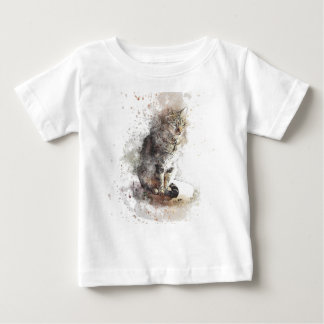 Tabby Cat Watercolor Baby T-Shirt