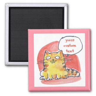 tabby cat watercolor cartoon square magnet