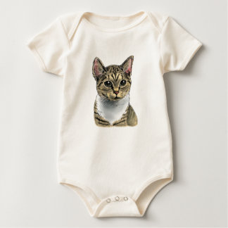 Tabby Cat With Big Eyes Baby Bodysuit