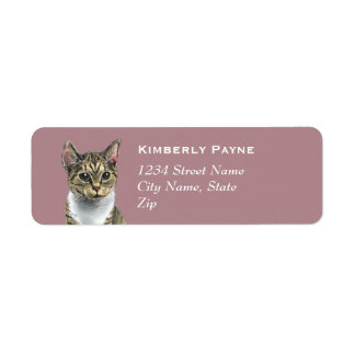 Tabby Cat With Big Eyes Drawing Return Address Label