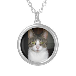 Tabby cat with big green eyes silver plated necklace