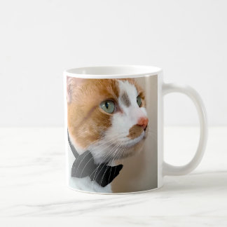 Tabby cat with bow tie coffee mug