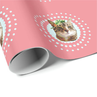 Tabby Cat with Christmas Holly Wrapping Paper