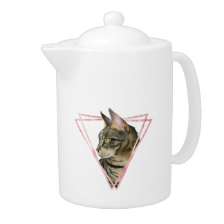Tabby Cat with Faux Blush Metallic Frame