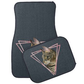 Tabby Cat with Faux Blush Metallic Frame Car Mat