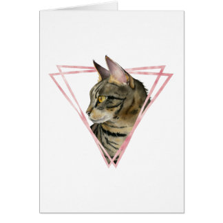 Tabby Cat with Faux Blush Metallic Frame Card