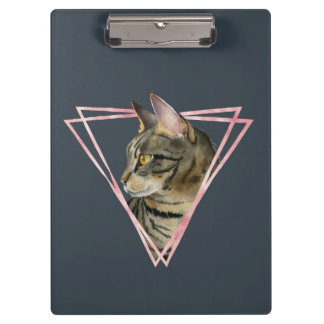 Tabby Cat with Faux Blush Metallic Frame Clipboard