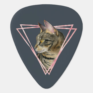 Tabby Cat with Faux Blush Metallic Frame Guitar Pick