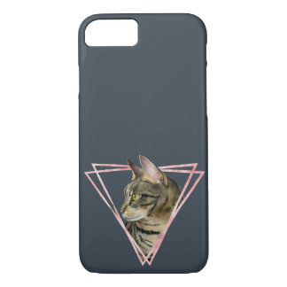 Tabby Cat with Faux Blush Metallic Frame iPhone 8/7 Case