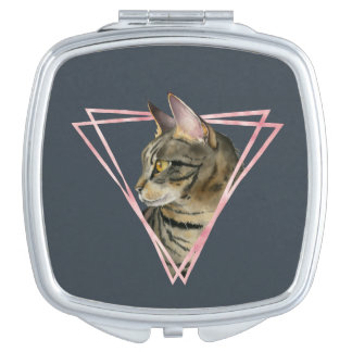 Tabby Cat with Faux Blush Metallic Frame Mirror For Makeup