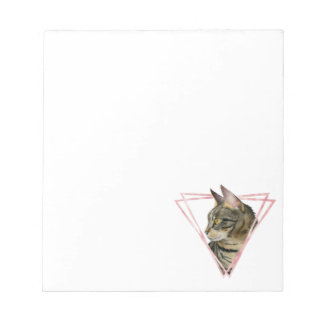 Tabby Cat with Faux Blush Metallic Frame Notepad