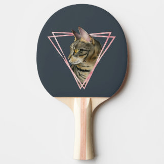 Tabby Cat with Faux Blush Metallic Frame Ping Pong Paddle