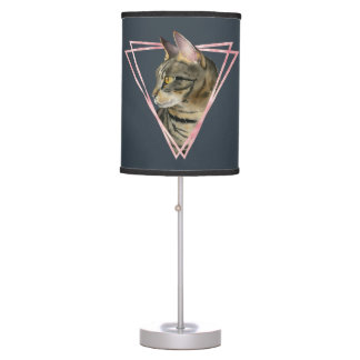 Tabby Cat with Faux Blush Metallic Frame Table Lamp