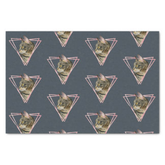 Tabby Cat with Faux Blush Metallic Frame Tissue Paper