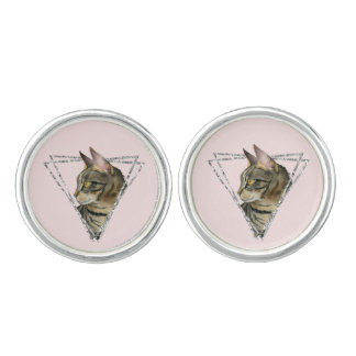 Tabby Cat with Faux Silver Glitter Frame Cufflinks