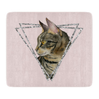 Tabby Cat with Faux Silver Glitter Frame Cutting Board
