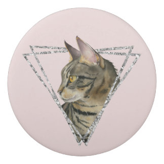 Tabby Cat with Faux Silver Glitter Frame Eraser