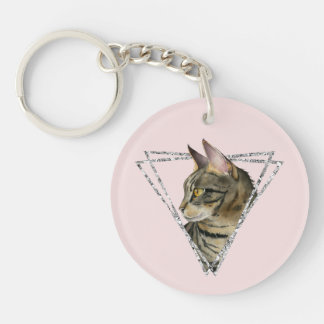 Tabby Cat with Faux Silver Glitter Frame Keychain
