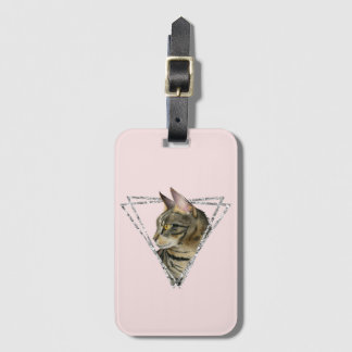 Tabby Cat with Faux Silver Glitter Frame Luggage Tag