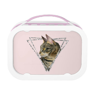 Tabby Cat with Faux Silver Glitter Frame Lunch Box