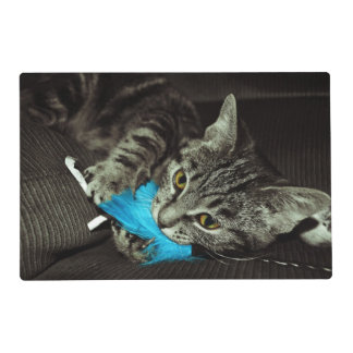 Tabby Cat with Feather by Shirley Taylor Laminated Place Mat