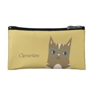 Tabby Cat with Glasses | Add Your Name Cosmetic Bag