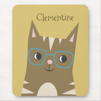 Tabby Cat with Glasses   Add Your Name Mouse Pad