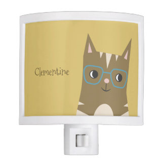 Tabby Cat with Glasses | Add Your Name Night Light