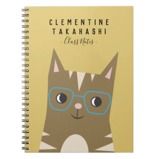 Tabby Cat with Glasses | Add Your Name Notebook