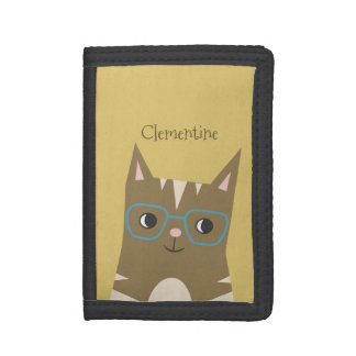 Tabby Cat with Glasses | Add Your Name Tri-fold Wallets