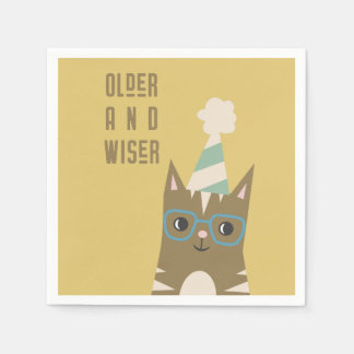 Tabby Cat with Glasses Birthday Napkin