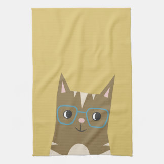 Tabby Cat with Glasses Kitchen Towel